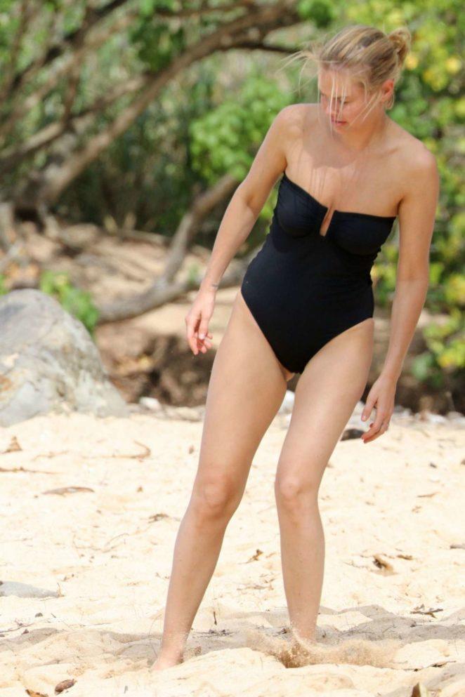Lara Bingle in Black Swimsuit on the Beach in Hawaii