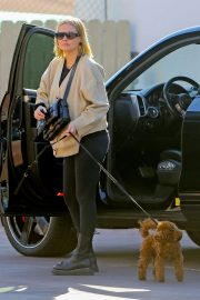 Lara Bingle takes her dog for a walk in West Hollywood