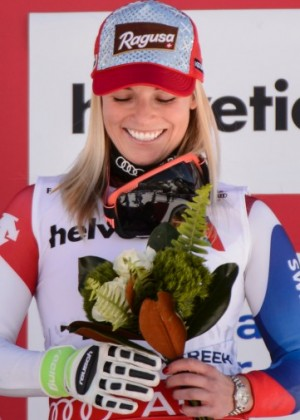 Lara Gut with her Bronze Medal in Beaver Creek