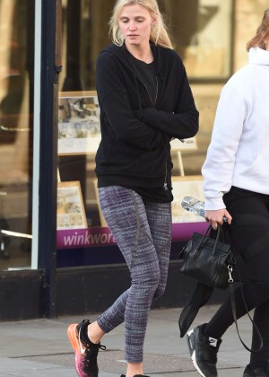 Lara Stone in Tights out in Notting Hill