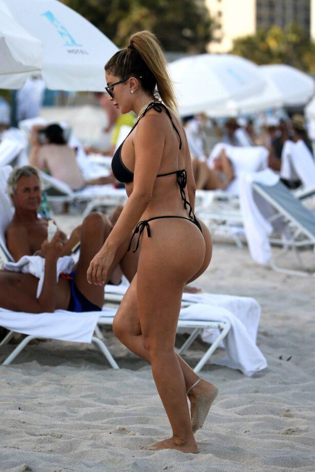 Larsa Pippen - In a black bikin at the beach in Miami