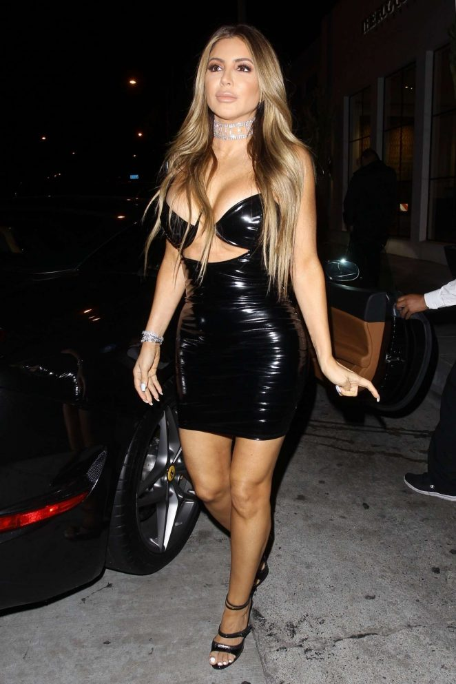 Larsa Pippen in Black Mini Dress at Catch in West Hollywood