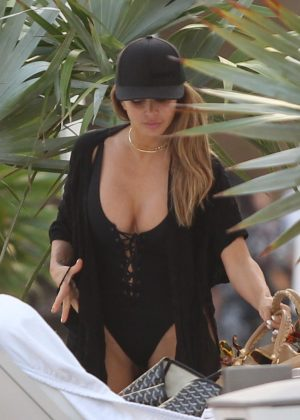 Larsa Pippen in Black Swimsuit at a pool in Miami