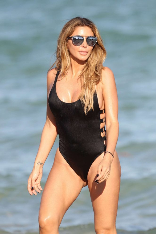 Larsa Pippen in Black Swimsuit on Miami Beach