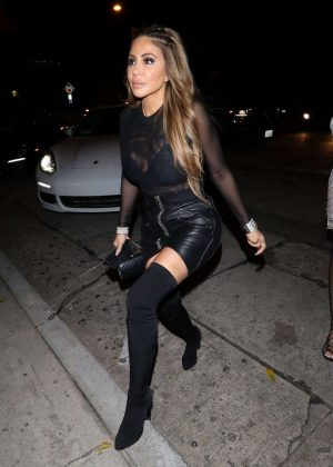 Larsa Pippen in Leather Skirt at Craig's restaurant in West Hollywood