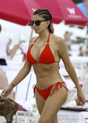 Larsa Pippen in Red Bikini on a beach in Miami