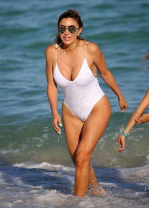 Larsa Pippen in White Swimsuit on Miami Beach