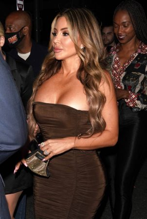 Larsa Pippen - Night out in brown dress at Il Pastaio restaurant in Beverly Hills