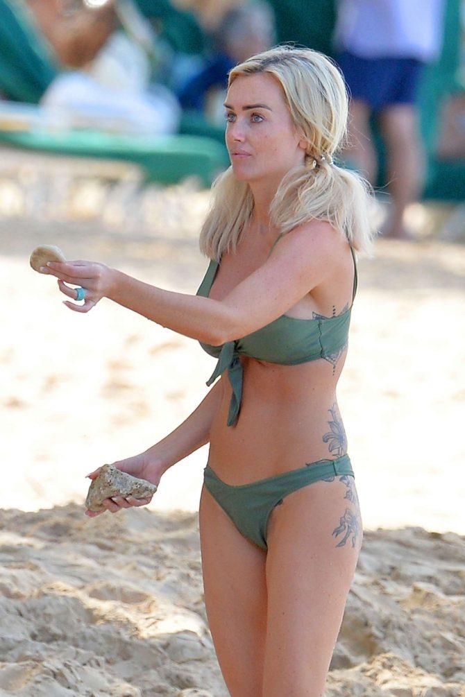 Laura Anderson in Green Bikini at the beach in Barbados