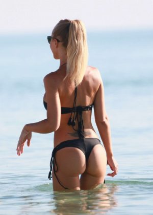 Laura Cremaschi: Black Bikini Candids on Miami Beach-01