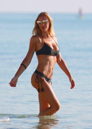 Laura Cremaschi: Black Bikini Candids on Miami Beach-08