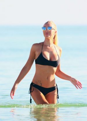 Laura Cremaschi: Black Bikini Candids on Miami Beach-10