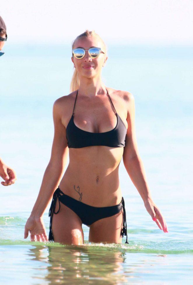Laura Cremaschi – Black Bikini Candids on Miami Beach