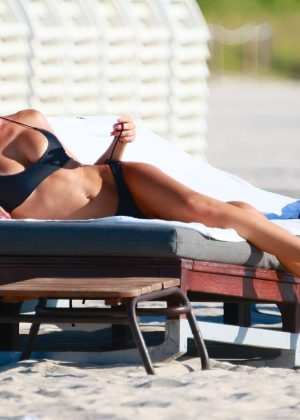 Laura Cremaschi: Black Bikini Candids on Miami Beach-19