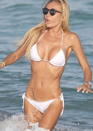 Laura Cremaschi in White Bikini on the Beach in Miami