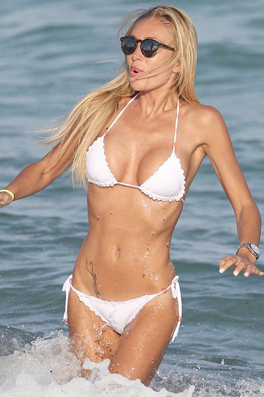 Laura Cremaschi in White Bikini on the Beach in Miami
