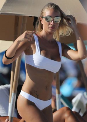 Laura Cremaschi - Wearing White Bikini on Miami Beach