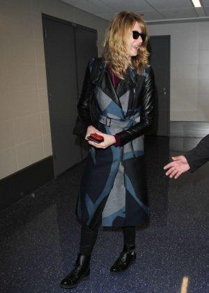 Laura Dern in Long Coat at LAX Airport in LA