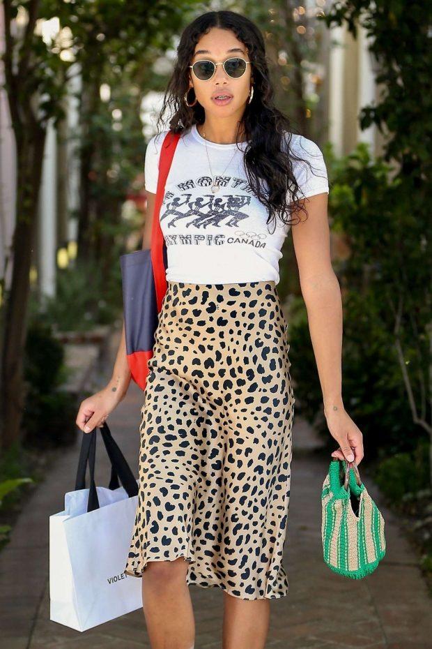 Laura Harrier - Shops at Violet Grey on Melrose Place in West Hollywood