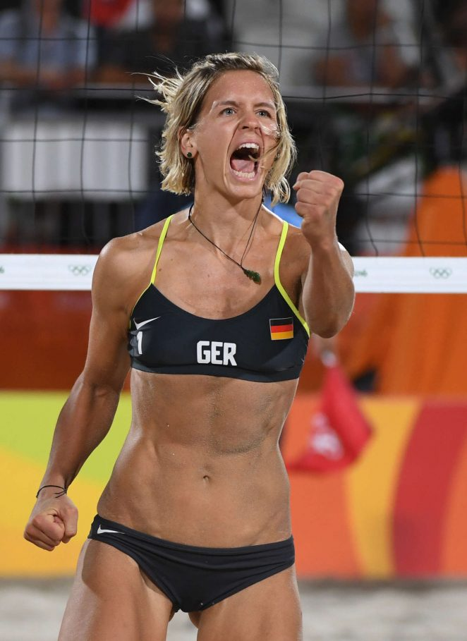 Laura Ludwig and Kira Walkenhorst of Germany at Women's Beach Volleyball Match 2016 in Rio de Janeiro