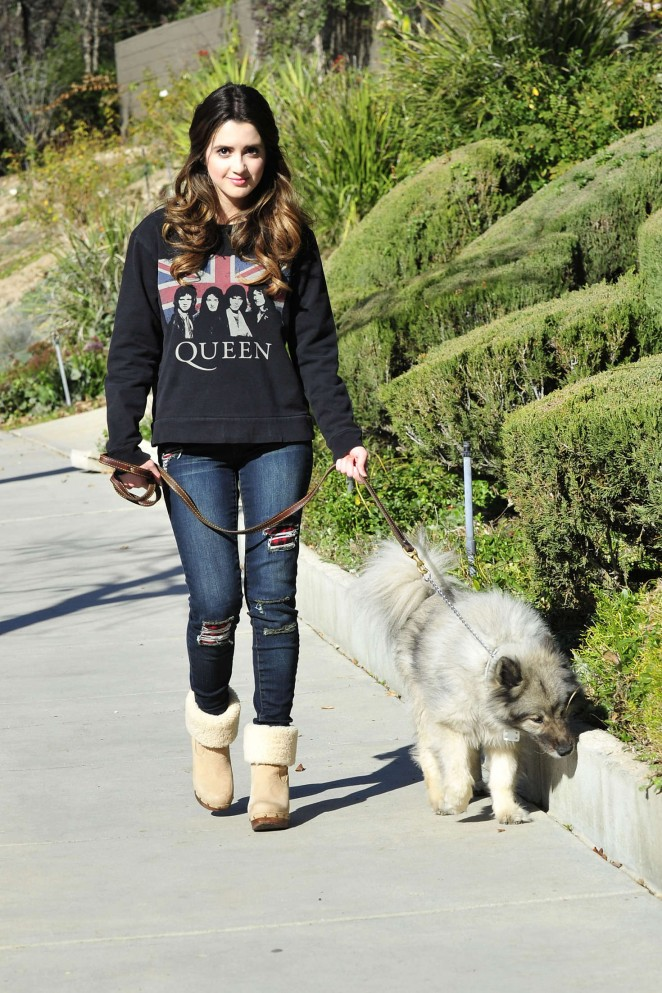 Laura Marano - Walking her dog in Los Angeles