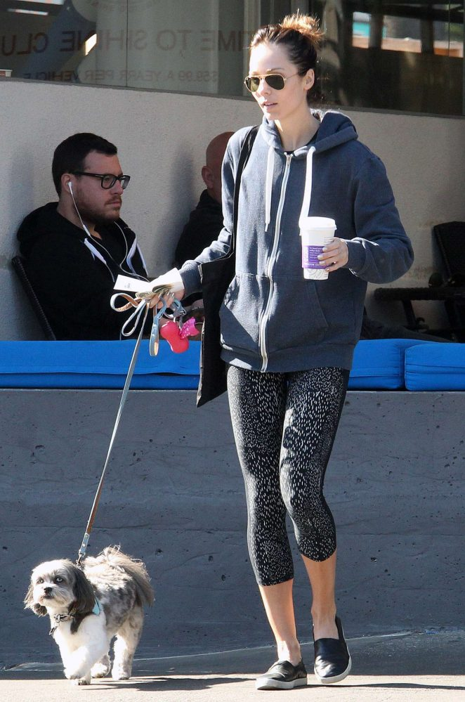 Laura Vandervoort in Tights with her dog out in West Hollywood
