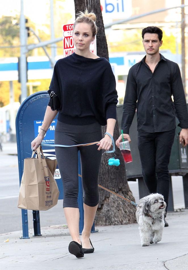 Laura Vandervoor in Tights Walking her Dog -01