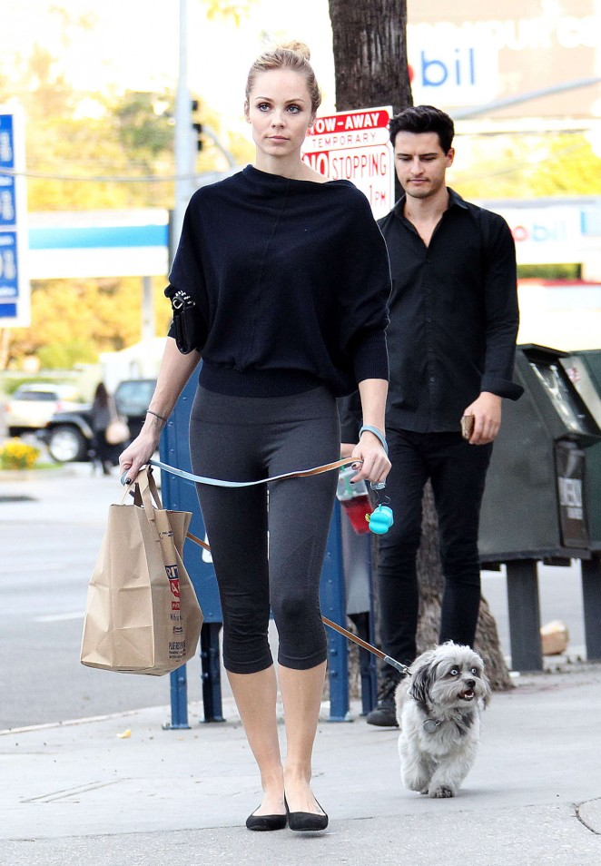 Laura Vandervoor in Tights Walking her Dog in West Hollywood