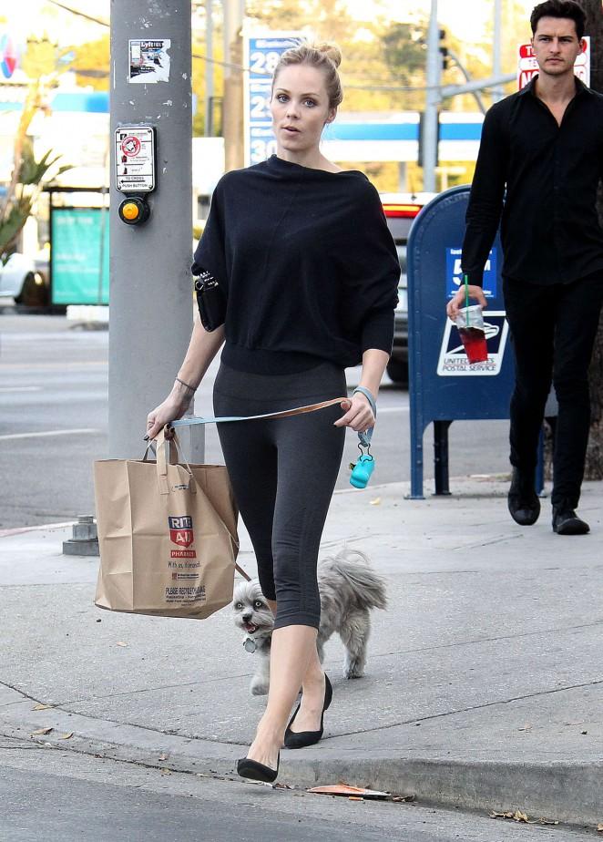 Laura Vandervoor in Tights Walking her Dog -06