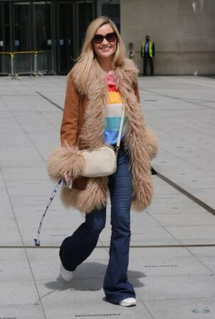 Laura Whitmore - heads out of the BBC studios in London