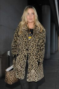 Laura Whitmore in Animal Print Coat - Leaving BBC Radio Studios in London