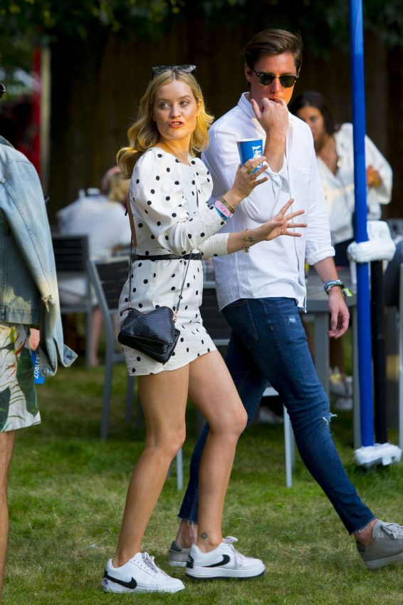 Laura Whitmore in White Polkadot Mini Dress at British Summer Time in Hyde Park