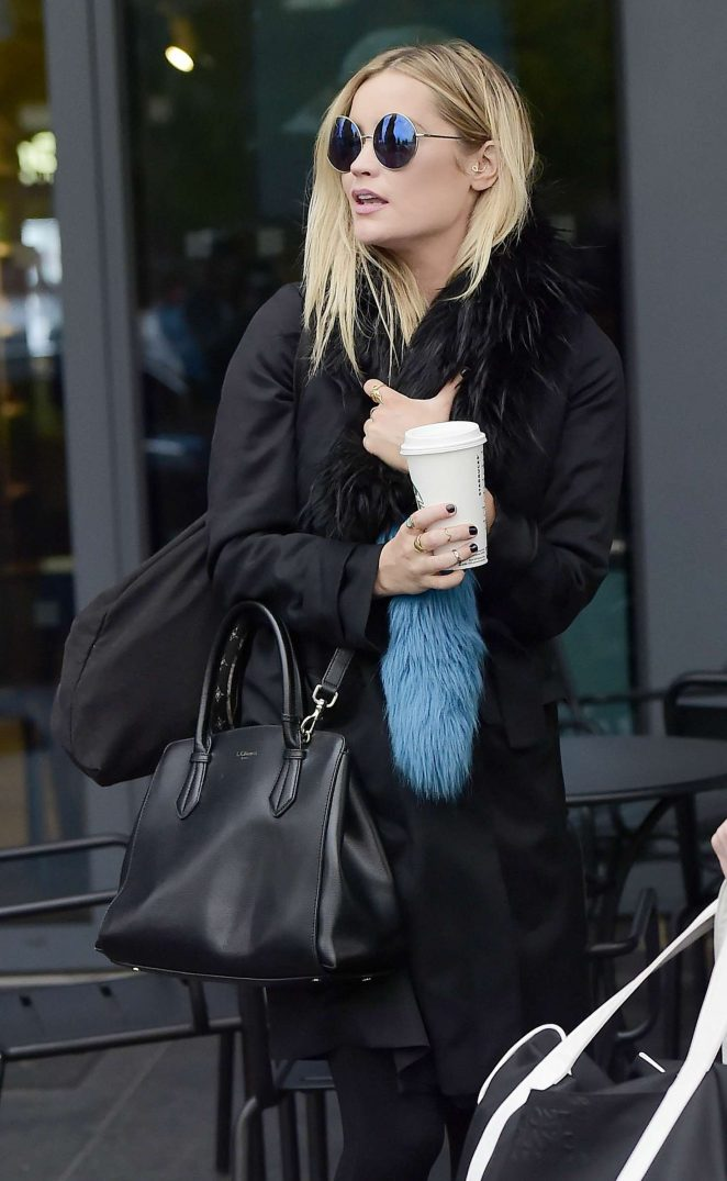 Laura Whitmore Leaving her hotel in Borhamwood
