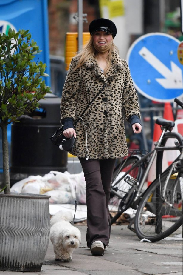 Laura Whitmore - Out walking her dog in London