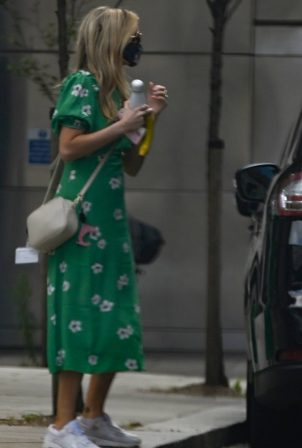 Laura Whitmore - Spotted leaving the BBC Radio 5 Studios in London