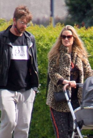 Laura Whitmore - With Iain Sterling out with their newborn baby in outin London