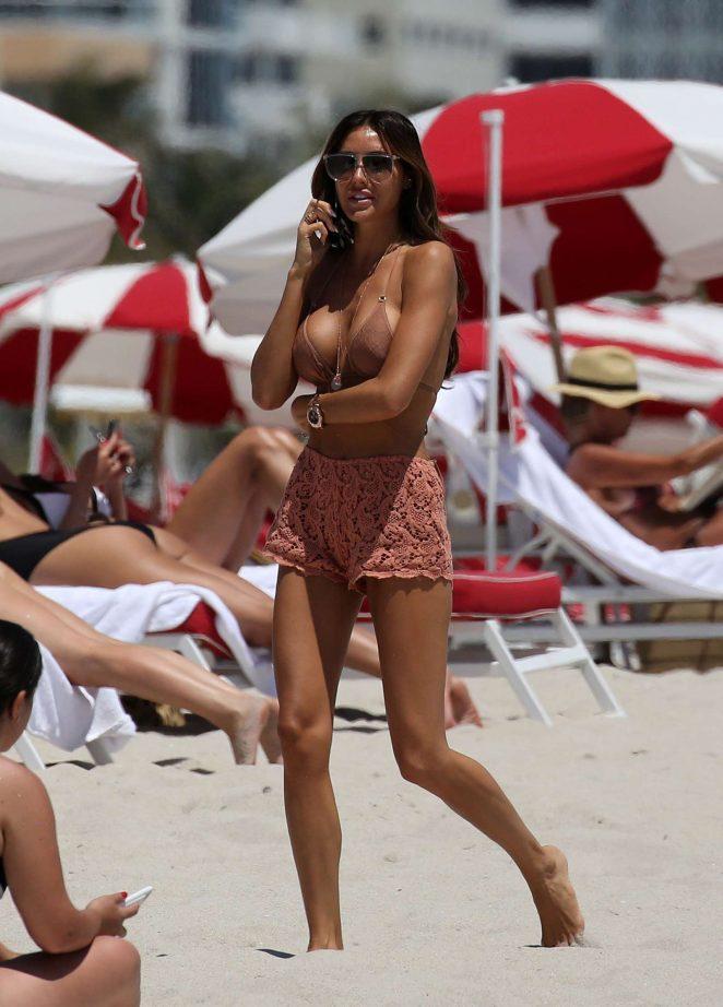 Laura Zilli in Pink Bikini on the beach in Miami