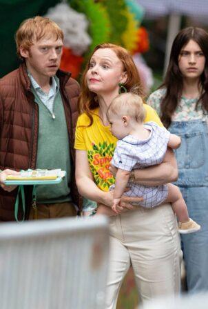 Lauren Ambrose - With Rupert Grint and Nell Tiger Free on 'Servant' Season 3 set in Philadelphia