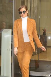 Lauren Cohan in Orange Outfit - Out in NYC