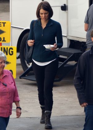 Lauren Cohan - On the set of 'Mile 22' in Atlanta