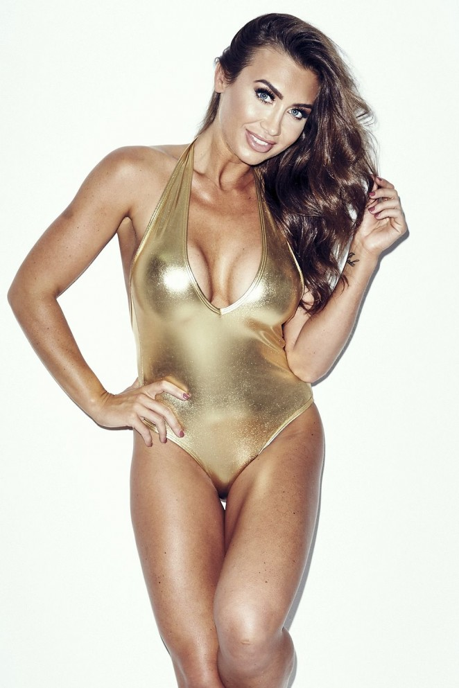 Lauren Goodger in a Gold Swimsuit Shoot