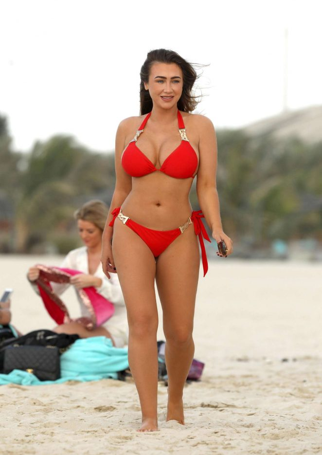 Lauren Goodger in Red Bikini in Dubai