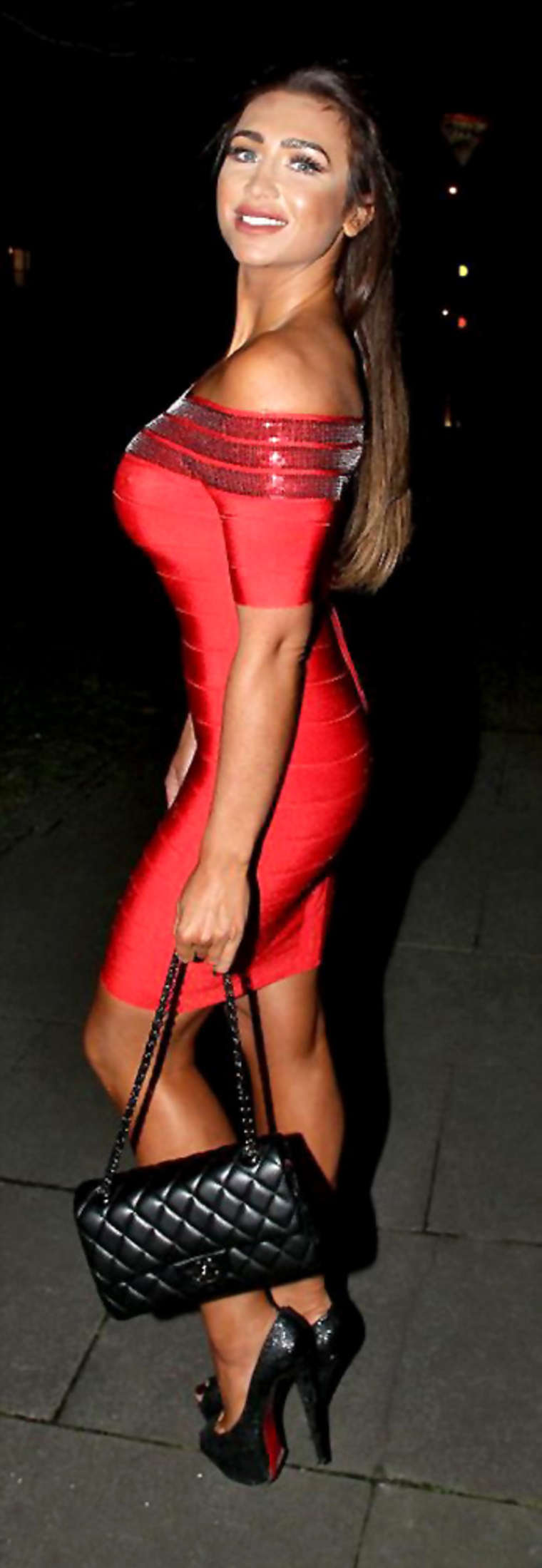 Lauren Goodger In Red Tight Dress Out In London Gotceleb