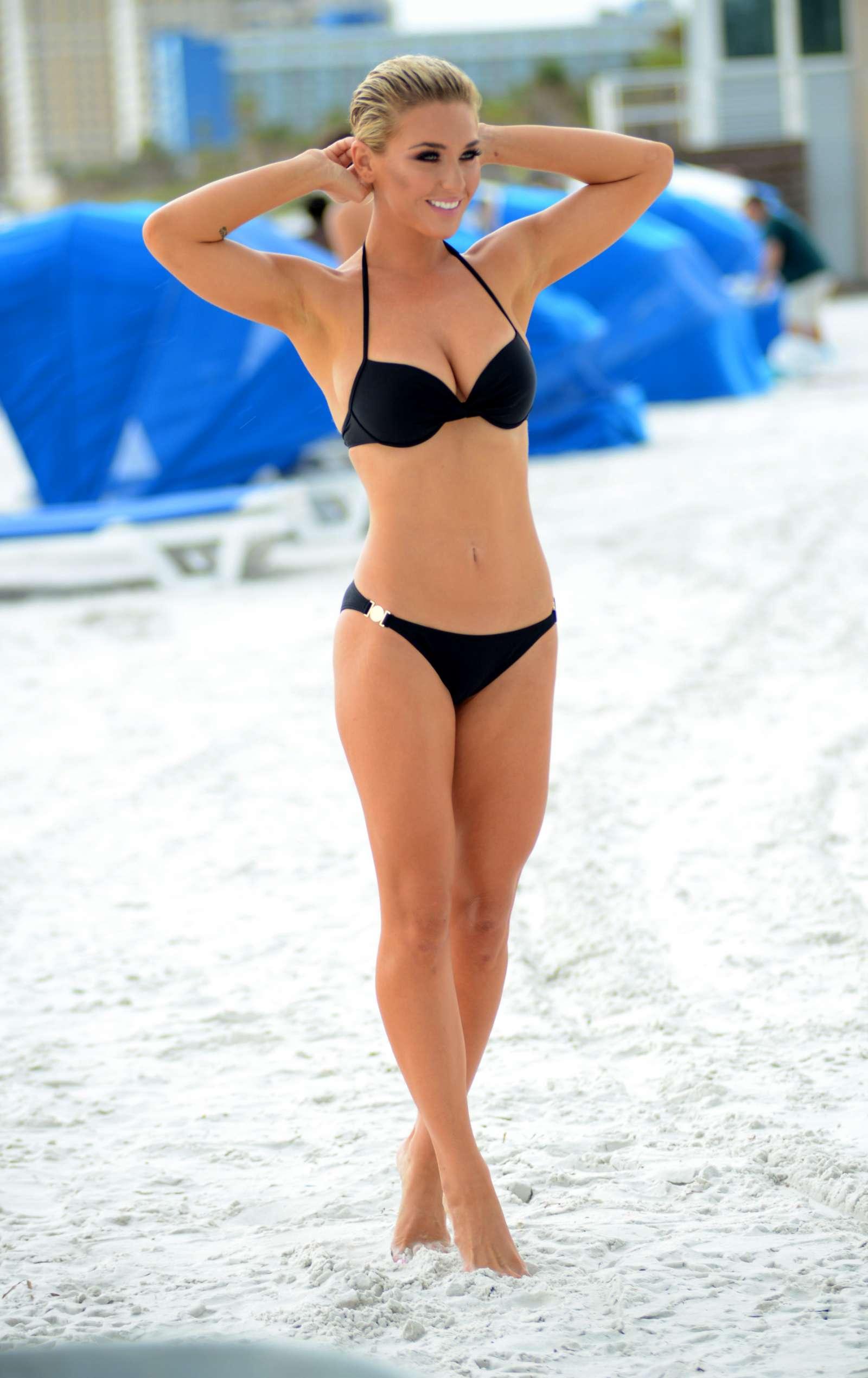 Lauren Hubbard in Black Bikini in Miami Beach