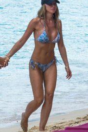 Lauren Pope in Blue Bikini on the beach in Barbados