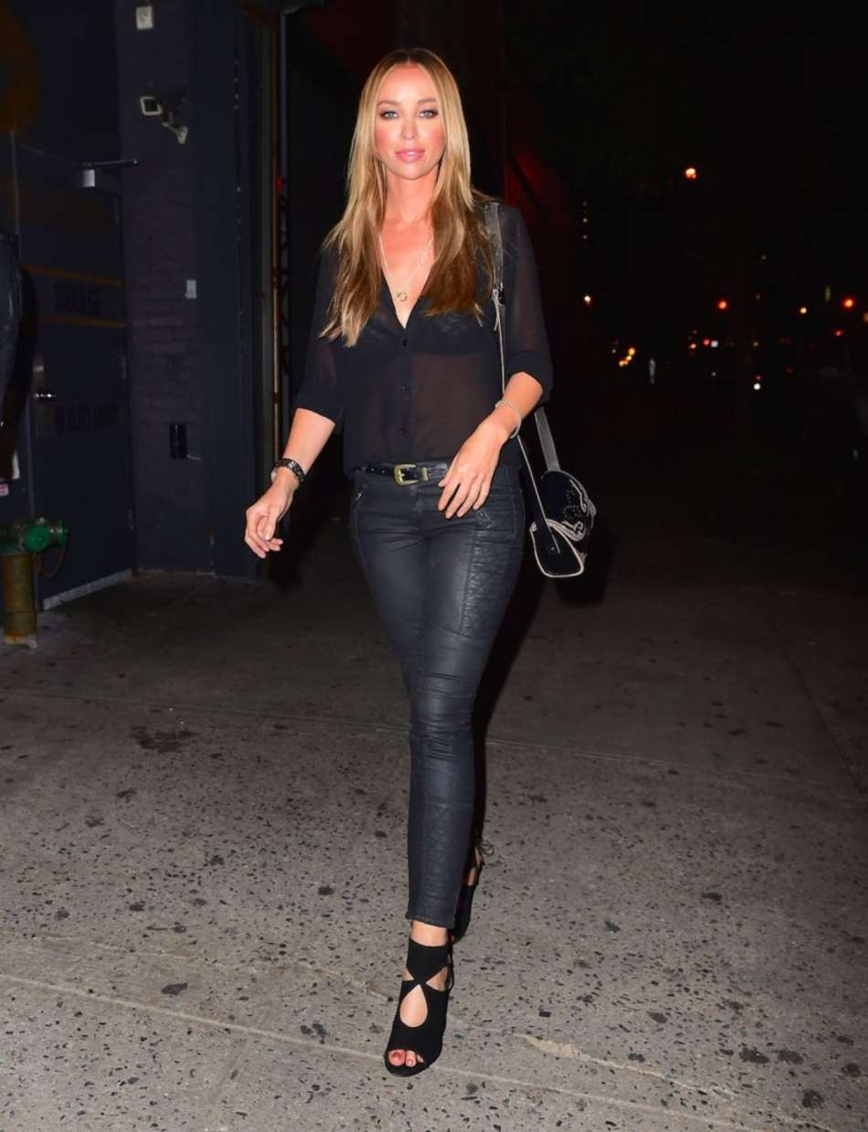 Lauren Pope In Leather Pants Out For Dinner In Ny
