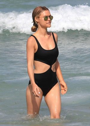 Lauren Scruggs in Black Swimsuit on the beach in Miami