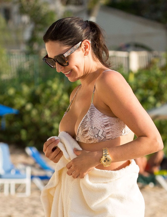 Lauren Silverman in Bikini at a beach in Barbados