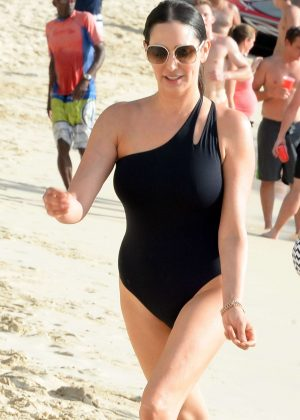 Lauren Silverman in Black Swimsuit at a beach in Barbados