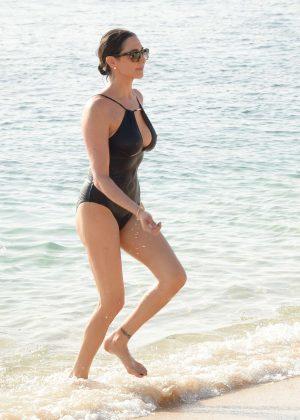 Lauren Silverman in Black Swimsuit in Barbados